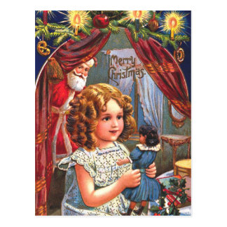 santa peek postcard