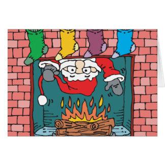 santa peeking in fireplace cards