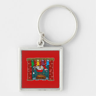 Santa peeking out chimney Silver-Colored square keychain