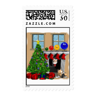 Santa peeking with 4 ornaments on the mantel postage