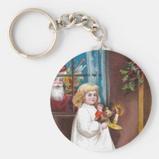 Santa Peeks Through Window Vintage Christmas Keychain