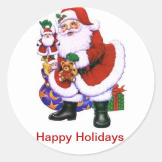 Santa, pegatinas, niños, diversión, juegos etiqueta redonda
