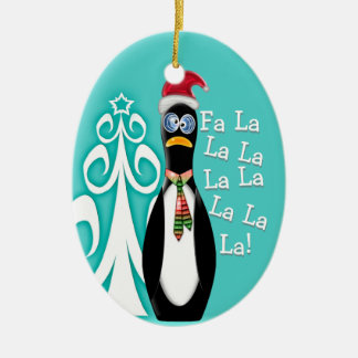 Santa Penguin All Shopped Out (Personalized) Ceramic Ornament