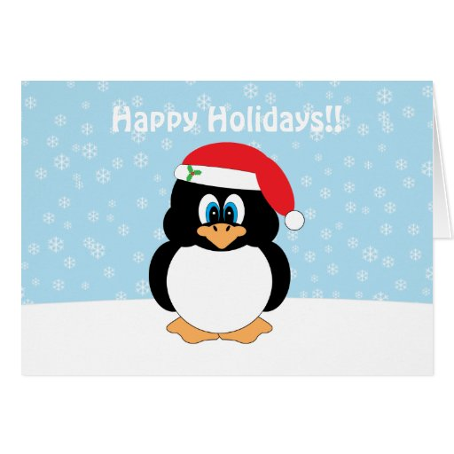 Santa penguin christmas card zazzle for Penguin christmas cards homemade