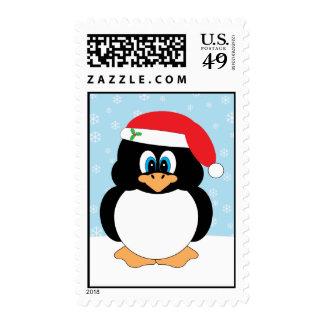 Santa Penguin Christmas Postage Stamps
