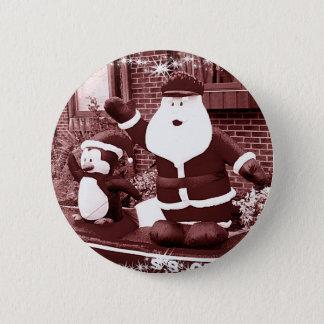 Santa & Penguin Friend Waving Pinback Button