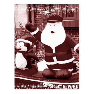 Santa & Penguin Friend Waving Postcard