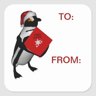 Santa penguin gift tag labels  for packages square sticker