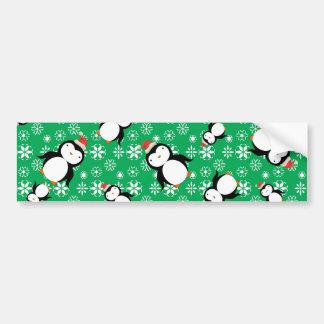 Santa penguin green snowflakes car bumper sticker