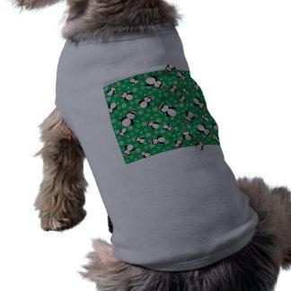 Santa penguin green snowflakes dog t-shirt