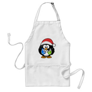 Santa Penguin Holding Presents/Gifts Adult Apron