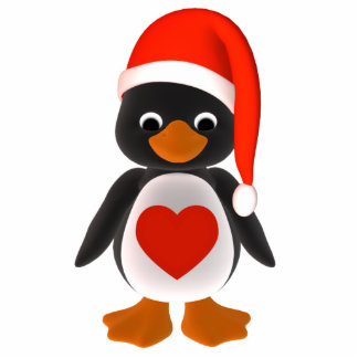 Santa Penguin Holiday Ornament Photo Sculpture