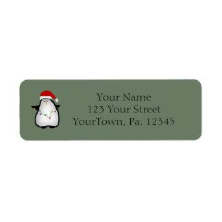 Santa Penguin Label
