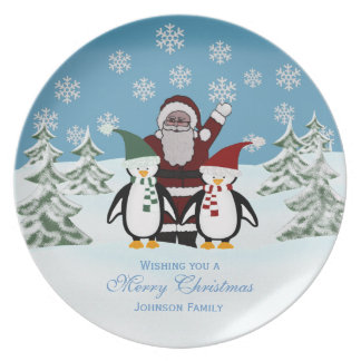 Santa & Penguin: Personalized: Christmas Plate