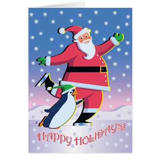 Santa penguin skating holiday card zazzle for Penguin christmas cards homemade