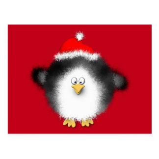 Santa Penguin Waves Hello Postcard