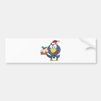 Santa Penguin with Christmas Cake Bumper Sticker