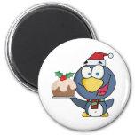 Santa Penguin with Christmas Cake Fridge Magnet
