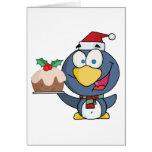 Santa Penguin with Christmas Cake Greeting Card