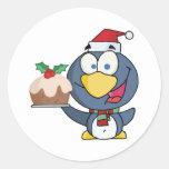 Santa Penguin with Christmas Cake Round Stickers