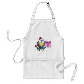 Santa Penguin with Christmas Gift and Candy Cane Adult Apron