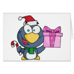 Santa Penguin with Christmas Gift and Candy Cane Greeting Card