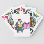 Santa Penguin with Christmas Gift and Candy Cane Deck Of Cards