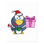 Santa Penguin with Christmas Gift and Candy Cane Postcard