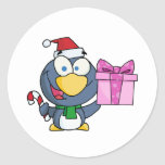Santa Penguin with Christmas Gift and Candy Cane Sticker