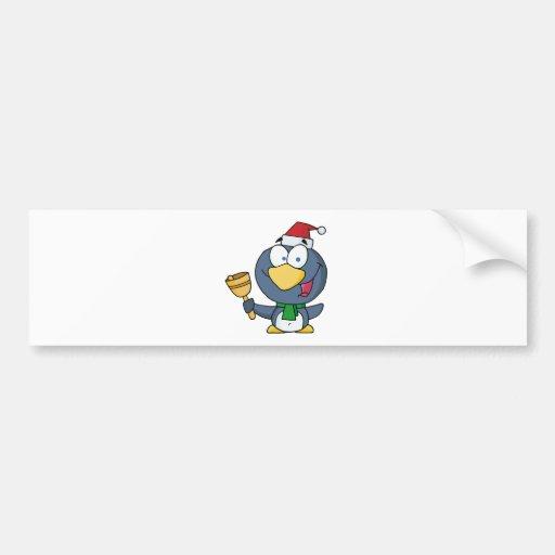 Santa Penguin with Jingle Bell Car Bumper Sticker