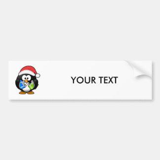 Santa Penguin with Presents Bumper Sticker