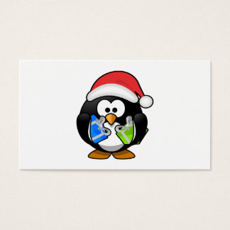 Santa Penguin with Presents Business Card
