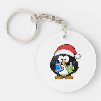 Santa Penguin with Presents Keychain