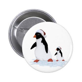 Santa Penguins Button
