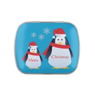 Santa Penguins Merry Christmas  Snowflakes on Blue Jelly Belly Tins