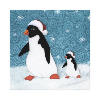 Santa Penguins Stretched Canvas Print