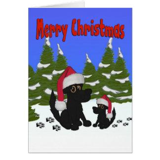 Santa persigue la tarjeta de las Felices Navidad