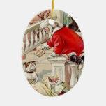 Santa persiguió por navidad de un vintage del perr ornaments para arbol de navidad