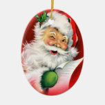 Santa personalizado que guiña el ornamento del nav adorno de navidad