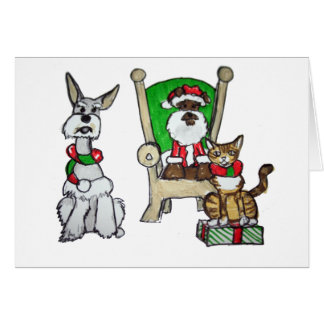 Santa Pets Greeting Cards
