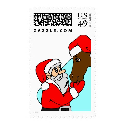 Santa Pets Horse USPS Holiday Stamps 2016 | Zazzle