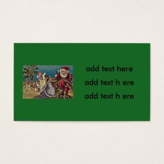 Santa Phone Sack of Toys Holly Business Card