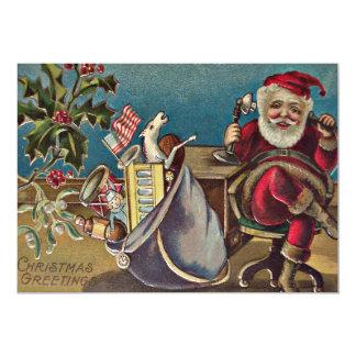 Santa Phone Sack of Toys Holly Card