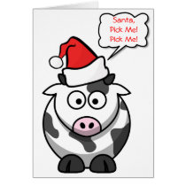 Santa Pick Me Cute Funny Cartoon Cow Christmas Card