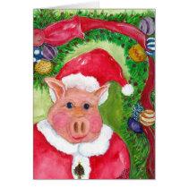 Santa Pig  Christmas Card with Ribbon & Ornaments