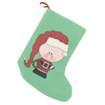 Santa Pig Claus Small Christmas Stocking