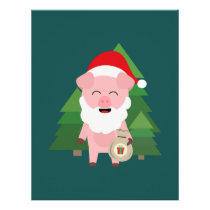 Santa Pig in Forest with Presents Flyer