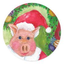 Santa Pig Sticker or Seal