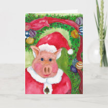 Santa Pig  with Ribbon & Ornaments Christmas Holiday Card