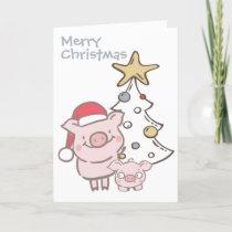 Santa Piggy and Baby Pig Christmas Tree Holiday Card